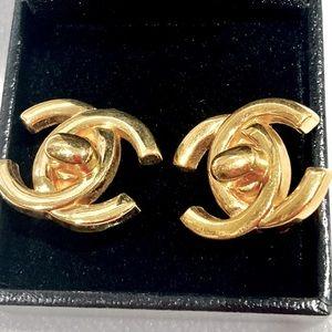 Vintage Chanel Turn Lock CC Gold Clip On Earrings